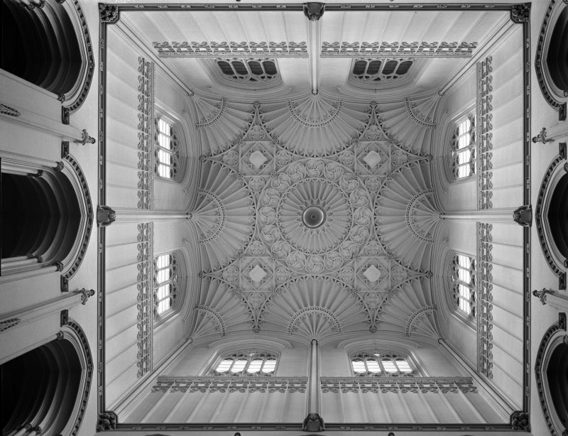 Copy of a photograph of the plasterwork ceiling in the Hall at Taymouth Castle taken in 1964 by Alistair Rowan for his Country Life article on the house.