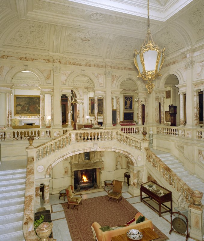 Interior.  View of marble hall.