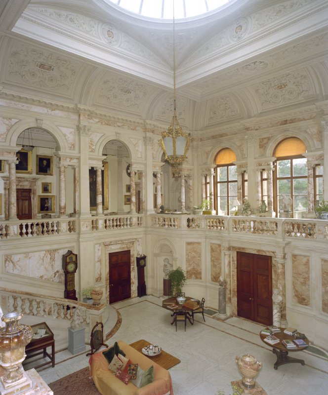 Interior, Gosford House.  View of marble hall.