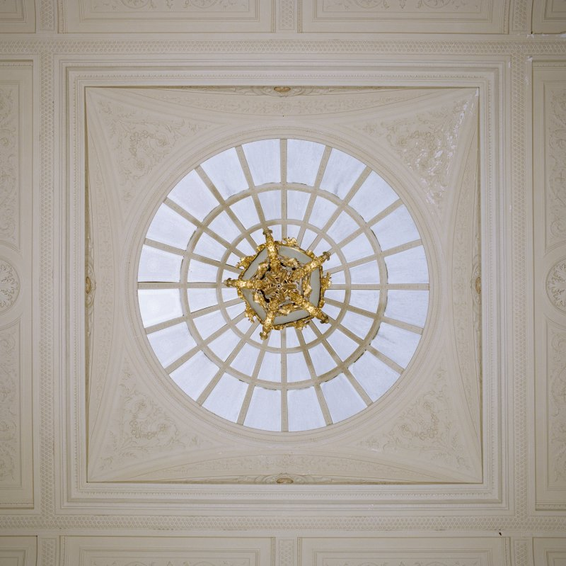 Interior.  Detail of cupola in hall.