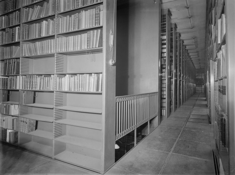 Interior-general view of shelving in the library