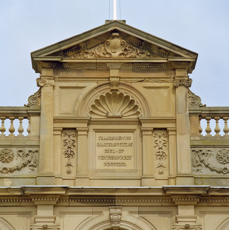 South front, detail of pediment above entrance
