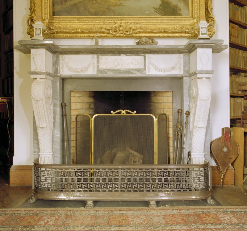 Interior. Ground floor, library, detail of fireplace