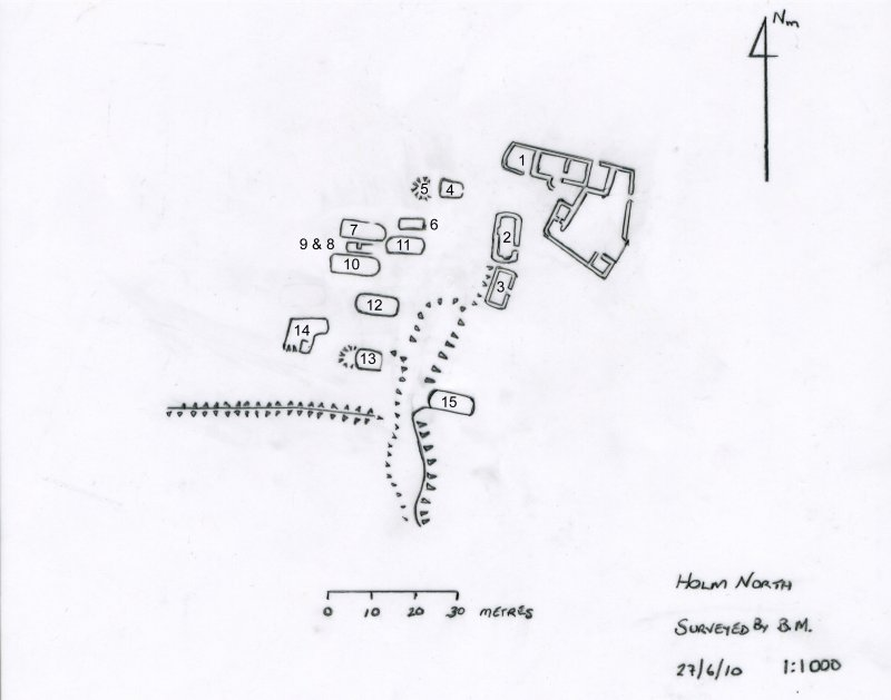 North Holm: measured plan of township showing building numbers