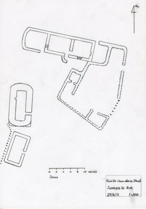 Noth Holm: measured plan of building 1 drawn at 1:200