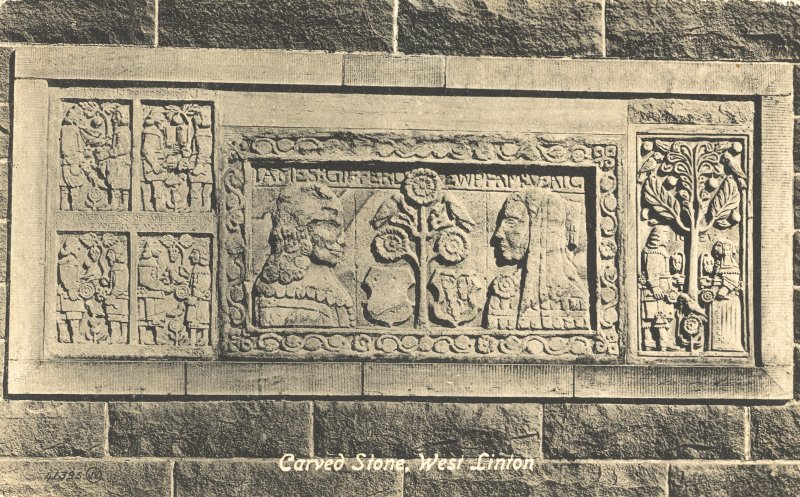 Postcard. Detail of carved stone.