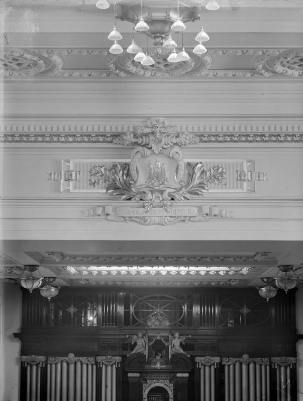 Interior detail of auditorium in the Usher Hall, Edinburgh, showing the decorative plaster cartouche containing the three castles of the City Arms and the anchor.