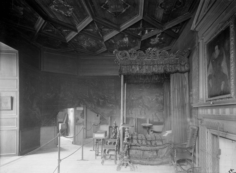 Interior-general view of Mary Queen of Scots' Bedroom. Copy on glass