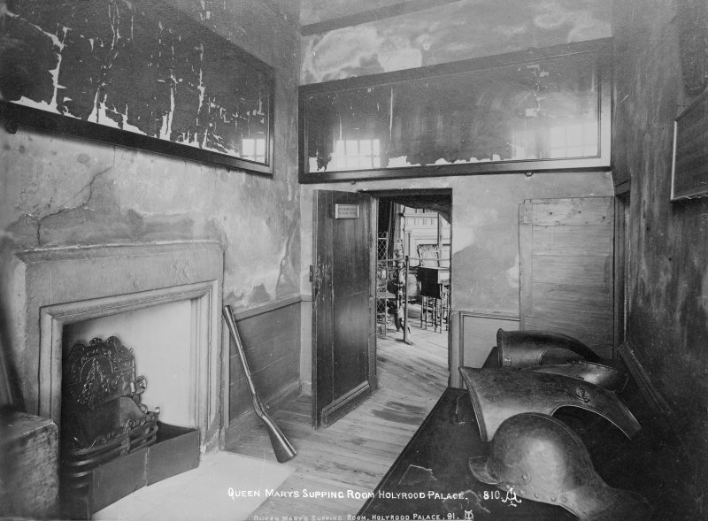 "Interior-general view of Mary Queen of Scots' Bedroom Supping Room. Copy on glass.  Insc. ""Queen Mary's Supping Room Holyrood Palace. 810."""