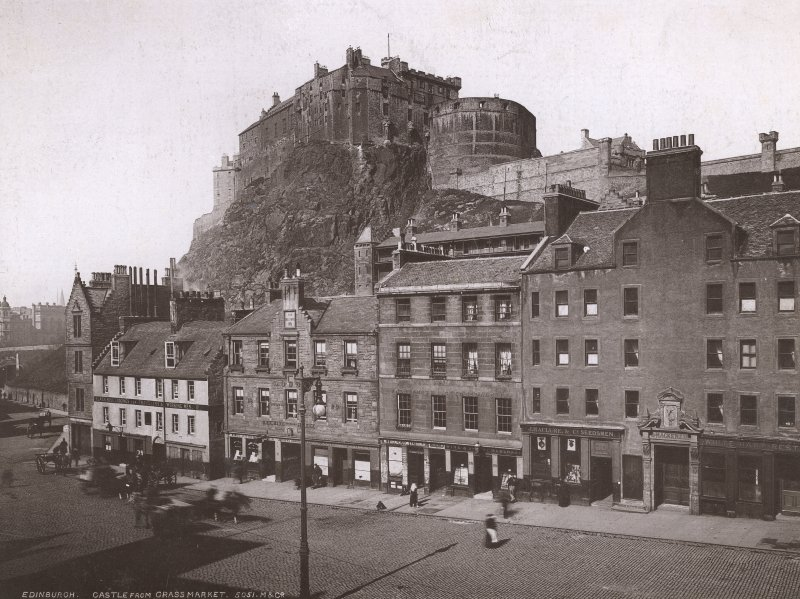 Historic photograph. General view from Grassmarket.