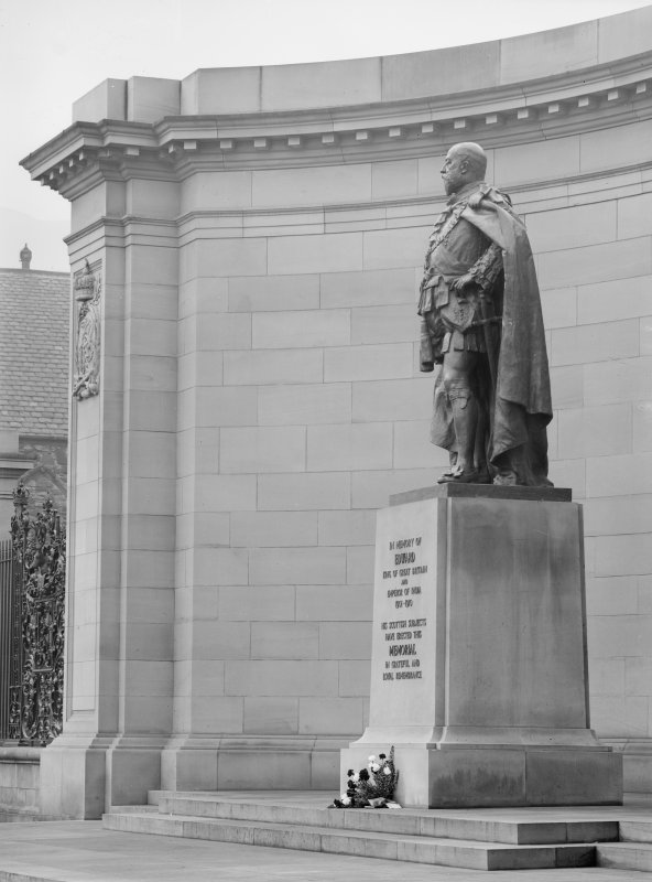 View of Memorial to King Edward VII, showing detail of statue, from South West
