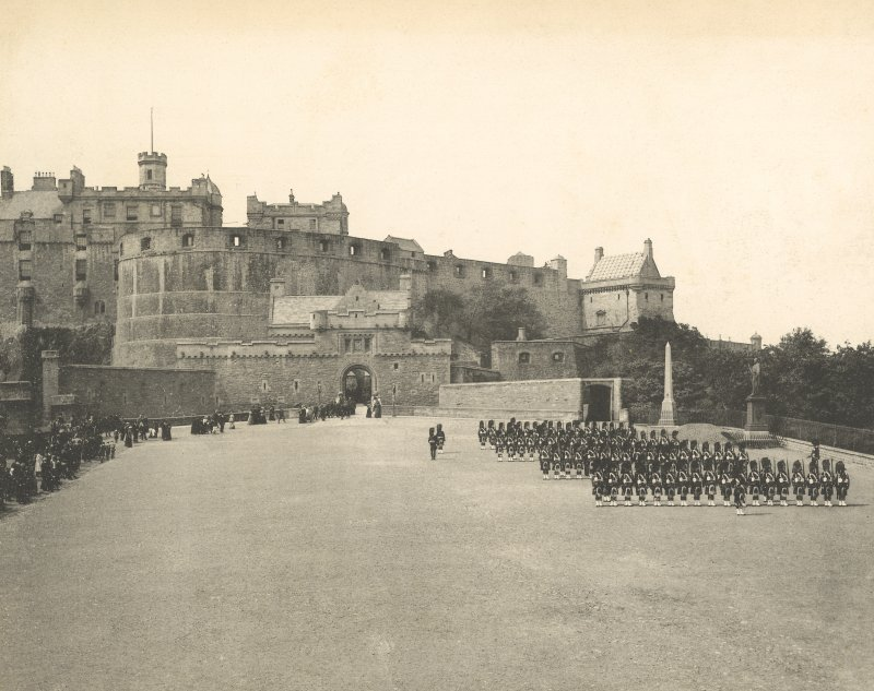 Historic photographic view of drill on esplanade looking towards the castle.