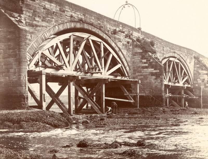 Historic photographic view of Auld Bridge, Ayr, from South-East.