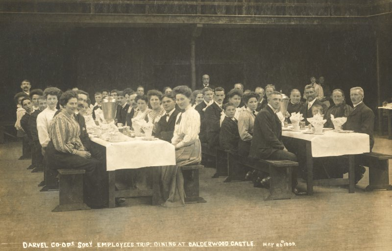 Postcard interior view of Darvel Co-op Soc. dining at Castle.