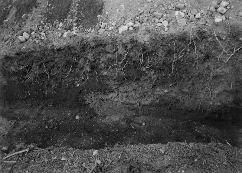 Excavation photograph (at NO 167 402): detail of turfwork