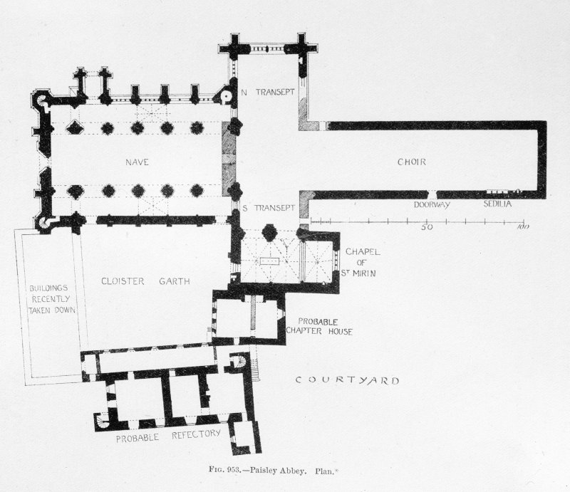 Photographic copy of drawing showing plan of abbey.