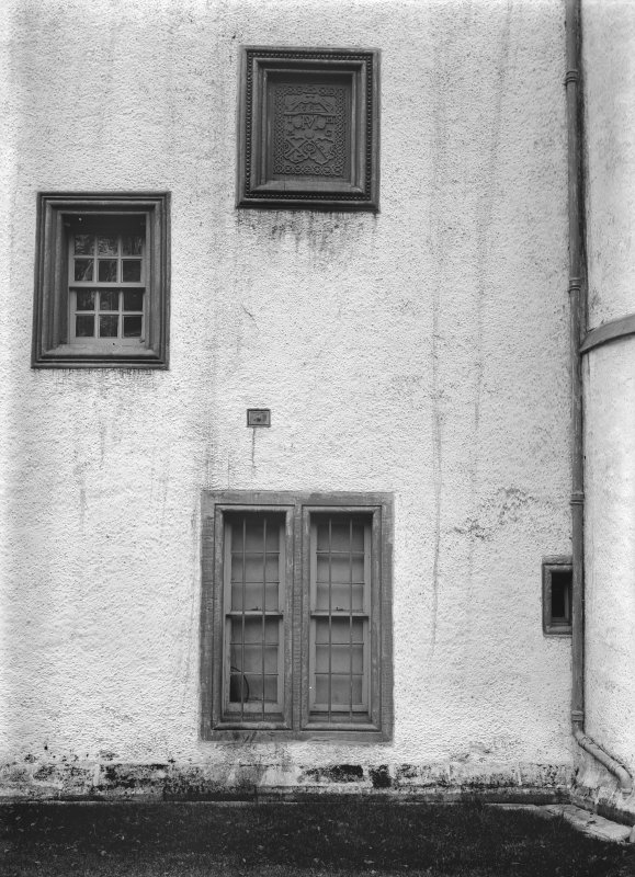 View of windows and plaque.