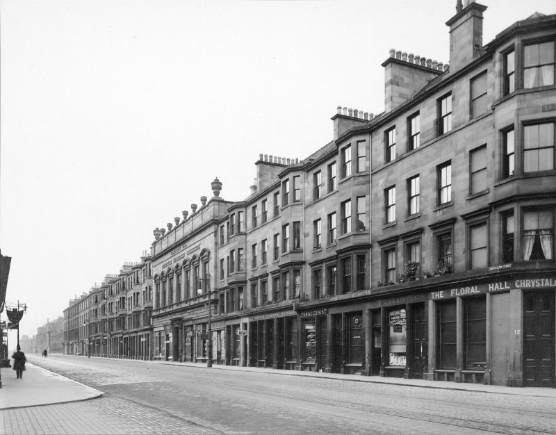 Photograph with text: 'South Clerk Street - looking South;  Edinburgh Photographic Society Survey of Edinburgh and District, Ward XIV George Square