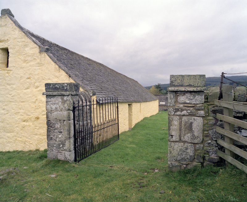 SW entrance gate, view from SW (gate open)