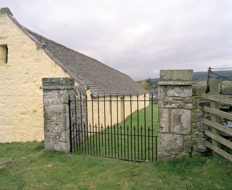 SW entrance gate, view from SW (gate closed)