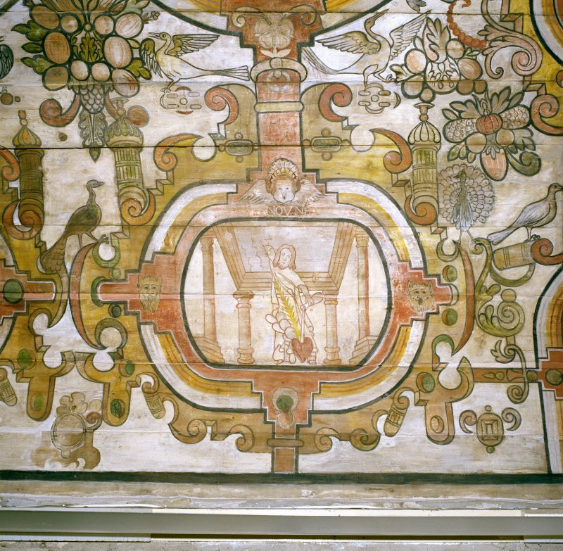 Interior, detail of painted ceiling