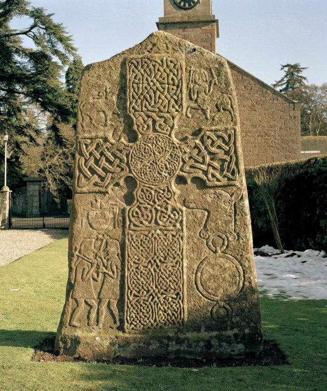 Pictish cross slab in Glamis manse garden, view of west (front) face (sunlight)