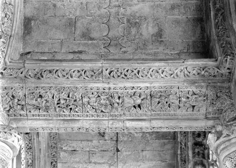 Roslin, Roslin Chapel. Interior View of carved lintels, North side, East aisle.
