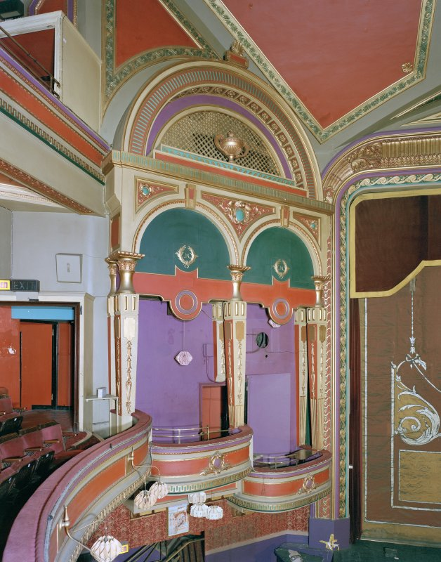 Interior of Empire Theatre, 13-27 Nicolson Street, Edinburgh. View from East in auditorium showing South West boxes and original colour scheme.