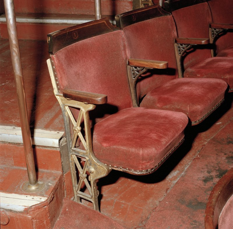 Interior of Empire Theatre, 13-27 Nicolson Street, Edinburgh. Detail of seat in circle of auditorium.
