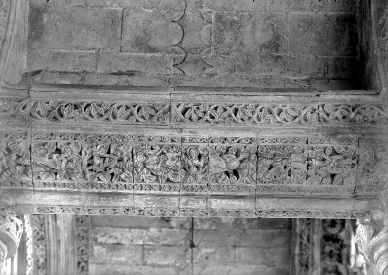 Roslin, Roslin Chapel. Interior. View of carved lintels, North side, East aisle.