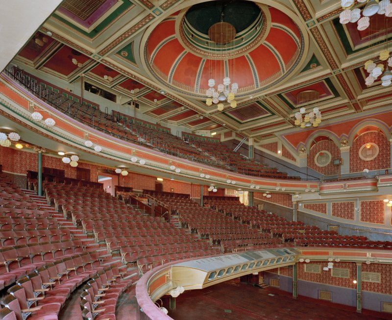 Empire Theatre, 13-27 Nicolson Street, Edinburgh. View from North West of auditorium showing balcony and circle