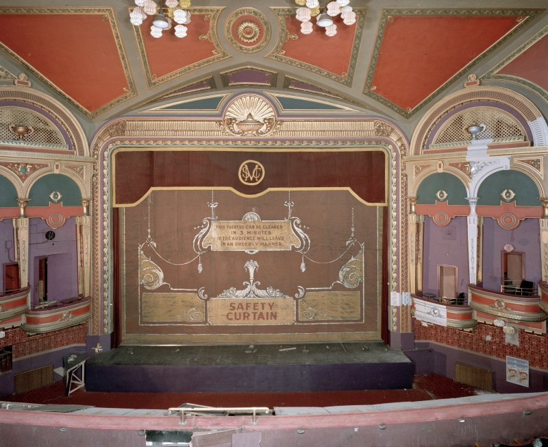 Interior of Empire Theatre, 13-27 Nicolson Street, Edinburgh. View of auditorium from East showing safety curtain.