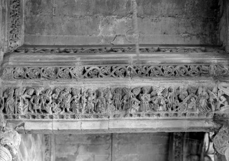 Roslin, Roslin Chapel. Interior. View of lintel of South aisle, second bay.