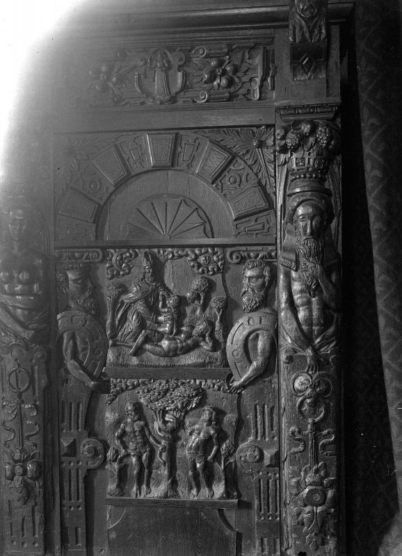 Roslin, Roslin Chapel. Interior. View of carved panel of oak cabinet.