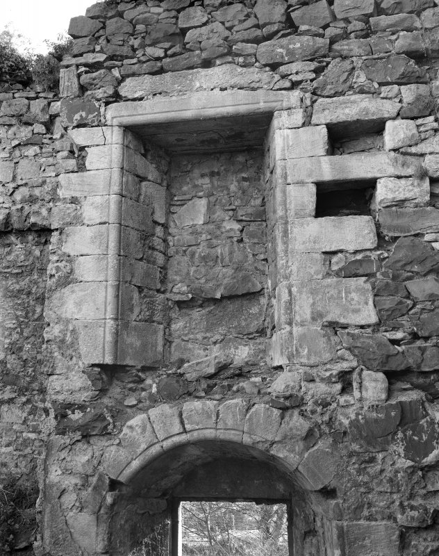 Detail of window embrasure on S wall, second floor.