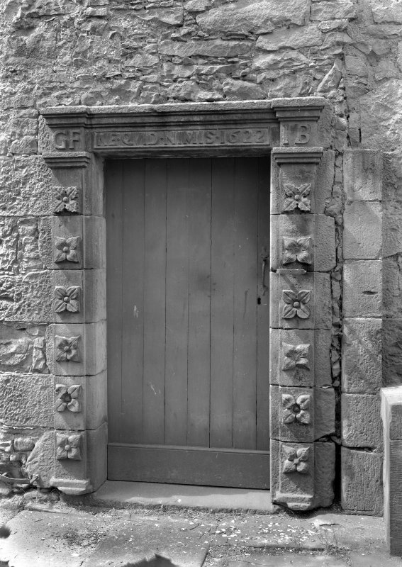 View of entrance doorway to stair tower of old Ravelston House, Edinburgh.