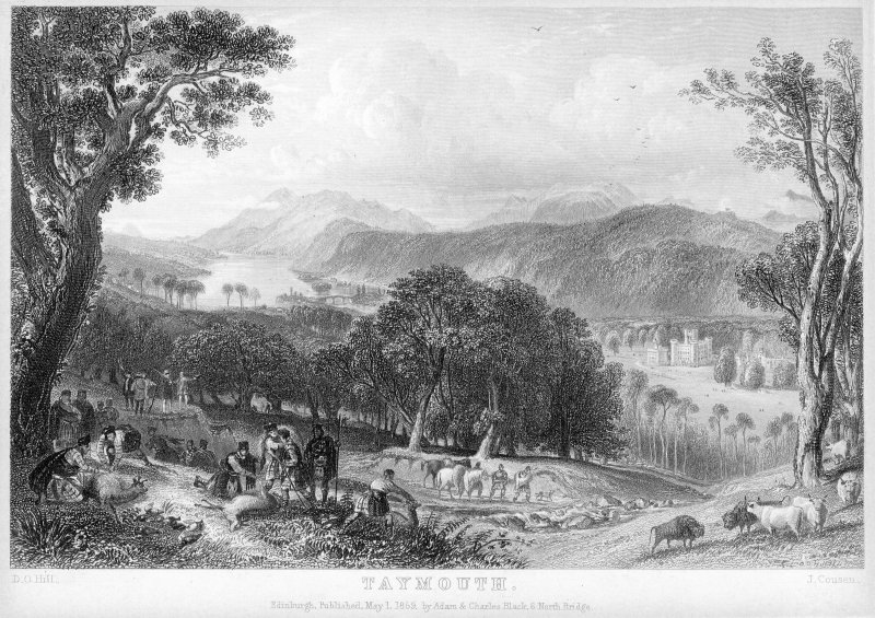 "Engraving showing hunters and distant view of Taymouth Castle Insc: ""Taymouth. D.O.Hill. J.Cousen. Edinburgh. Published May 1. 1859 by Adam & Charles Black, 6 North Bridge."""