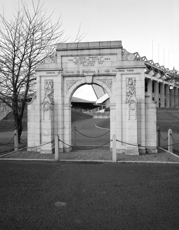 Detail of war memorial with Murrayfield Stadium, Edinburgh behind. Inscribed 'In pround memory of the Scottish Rugby Men who gave their lives in the Great War 1914-1918   Honour also those (1939-1945) who followed them'.