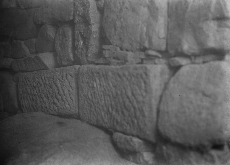 Detail of Roman stone in souterrain.