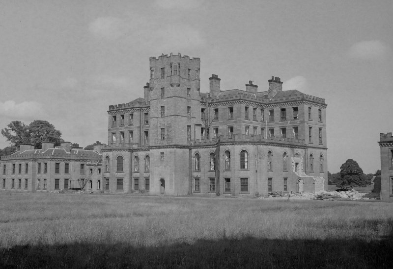 View from South East of central block of Gordon Castle during demolition work