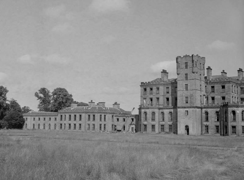 View from South East of central and West block of Gordon Castle during demolition work