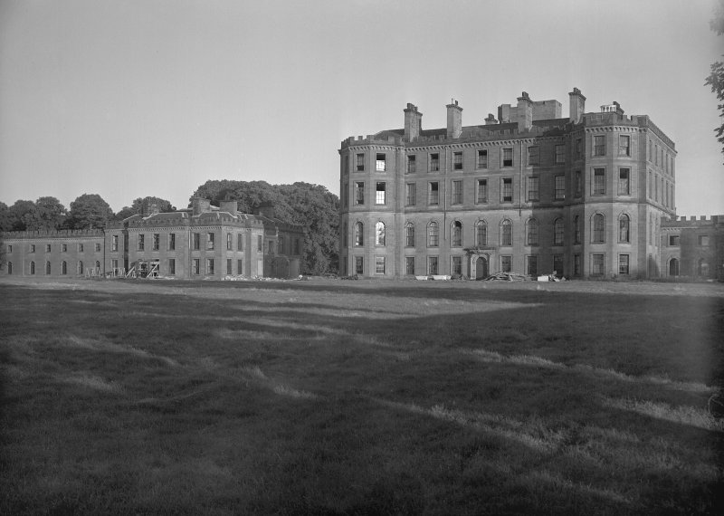 View from North West of central and East block of Gordon Castle during demolition work