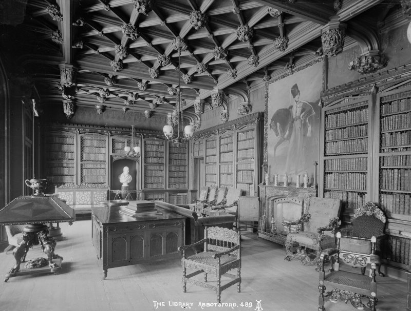 Abbotsford House. Interior-general view of the Library