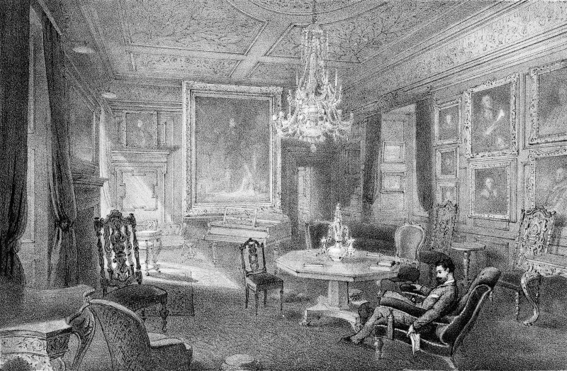 Lithograph showing interior view with seated figure. Titled: 'Drawing Room, Fyvie Castle. C.F.Kell, Lith. 8 Castle St, Holborn, London F.C; Lumleys, Land Agents & Auctioneers, London, SW'