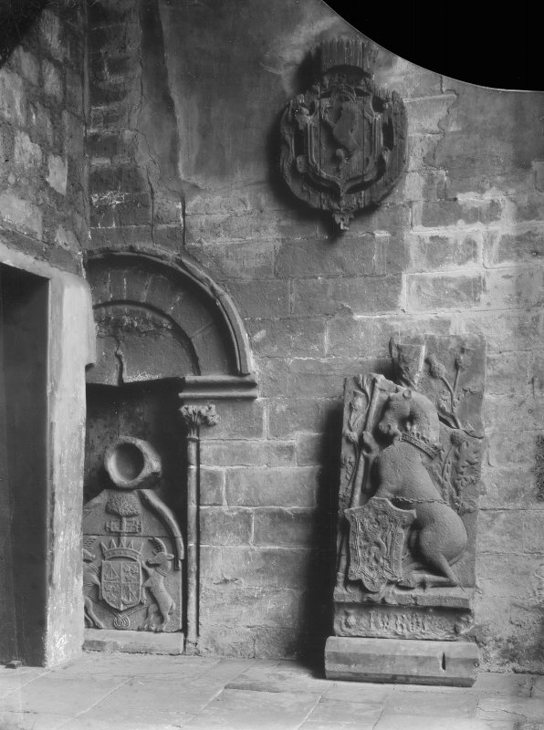 Interior-detail of doorway and heraldic panels in South West tower of Holyrood Abbey (Chapel Royal)