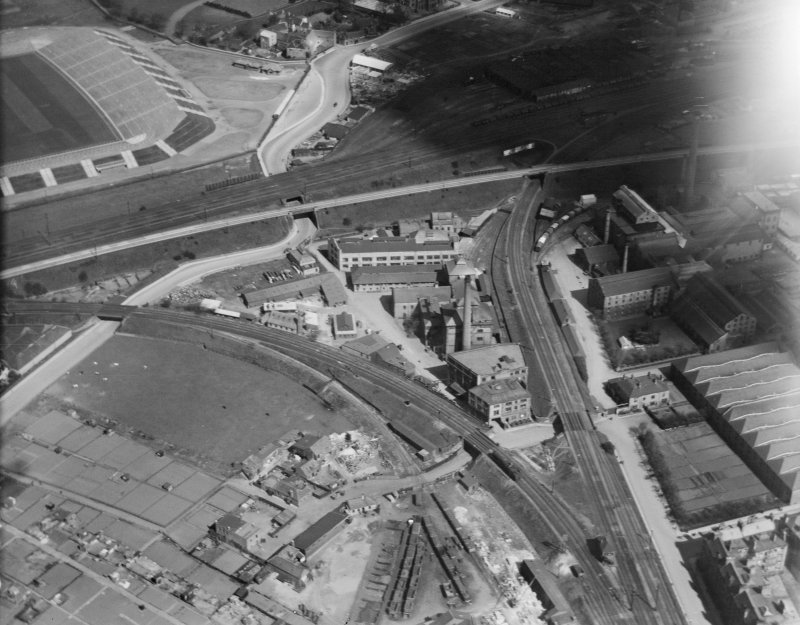 T and H Smith's works, Wheatfield Road, Edinburgh. Oblique aerial photograph taken facing north.