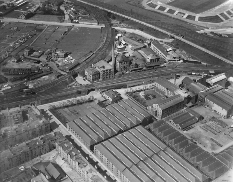 T and H Smith's works, Wheatfield Road, Edinburgh. Oblique aerial photograph taken facing west.