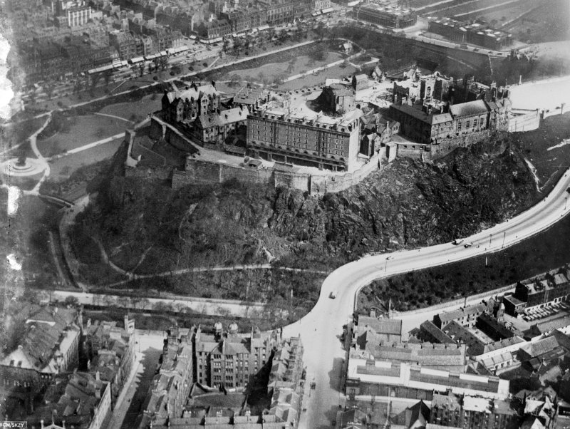 Edinburgh Castle. Oblique aerial photograph taken facing north.