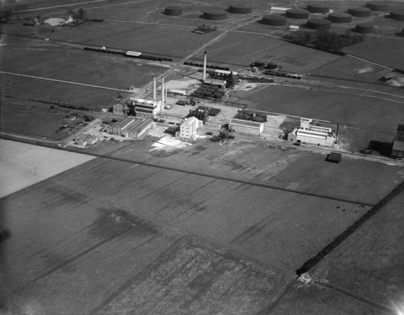 Scottish Oils Grangemouth Refinery, Grangemouth.  Oblique aerial photograph taken facing north.
