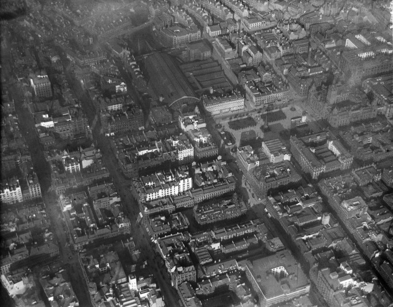 Glasgow, general view, showing George Square and Queen Street Station.  Oblique aerial photograph taken facing north-east.